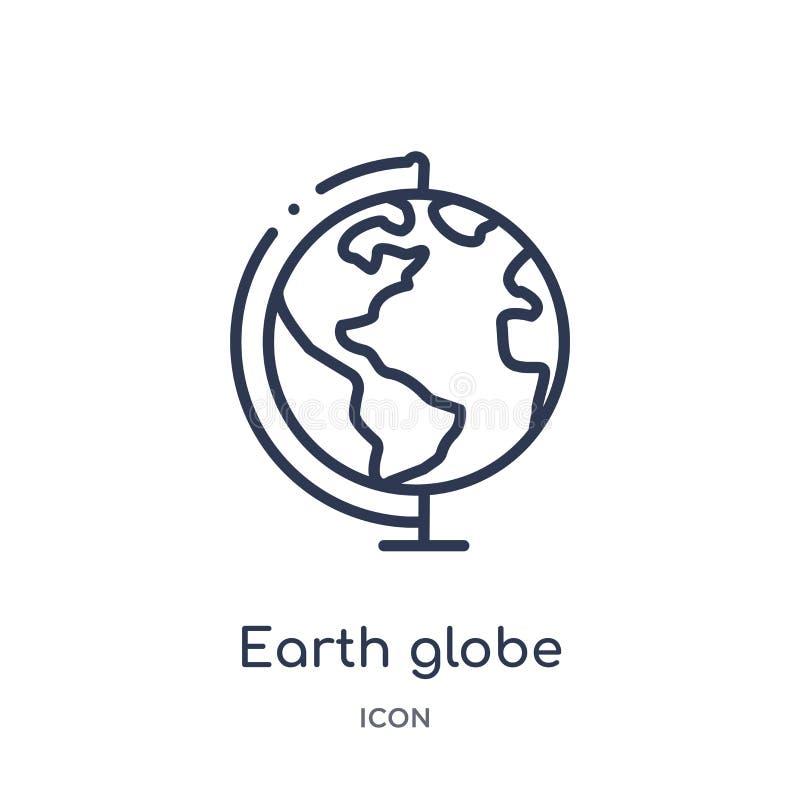 Liniowa ziemska kuli ziemskiej ikona od edukacja konturu kolekcji Cienki linii ziemi kuli ziemskiej wektor odizolowywający na bia royalty ilustracja