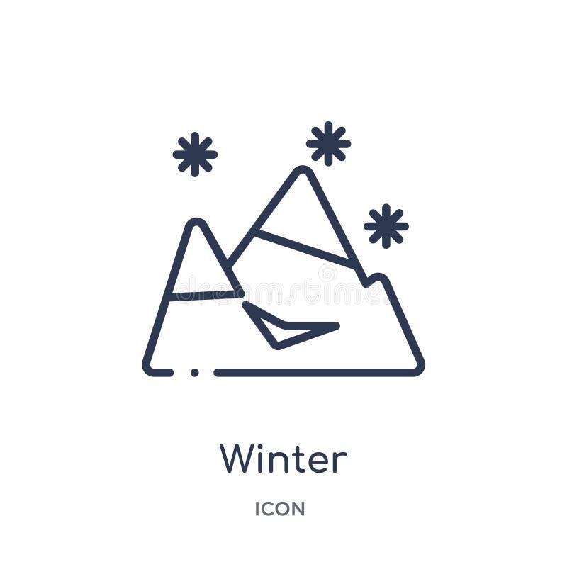 Liniowa zimy ikona od meteorologia konturu kolekcji Cienieje kreskową zimy ikonę odizolowywającą na białym tle zima modna ilustracja wektor