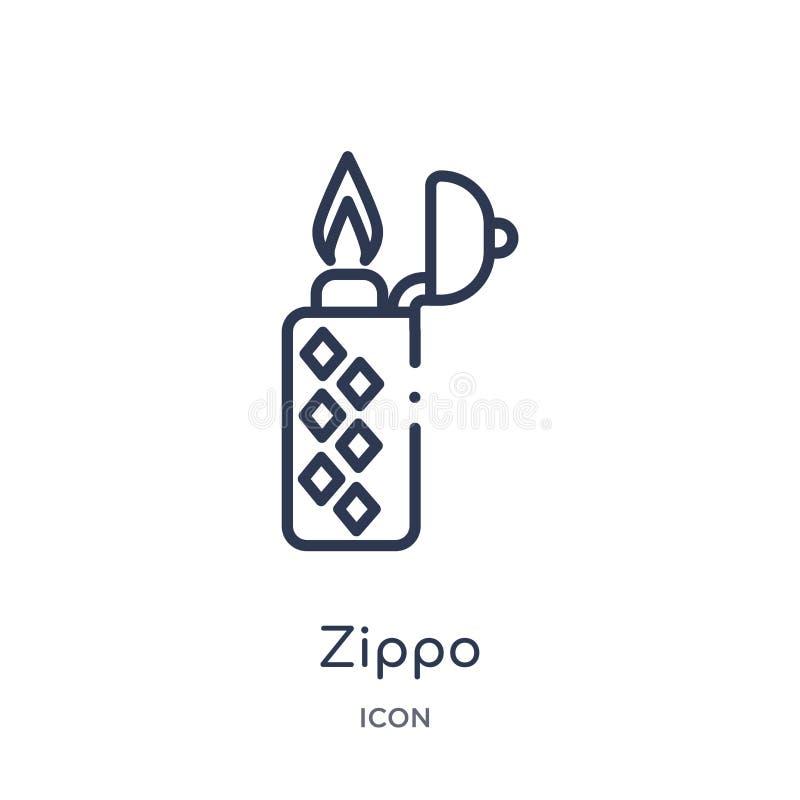 Liniowa zippo ikona od Luksusowej kontur kolekcji Cienieje kreskową zippo ikonę odizolowywającą na białym tle zippo modna ilustra royalty ilustracja