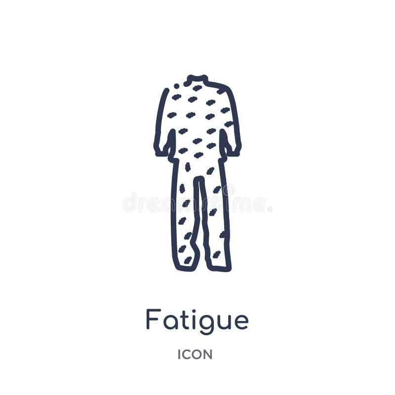 Liniowa zmęczenie ikona od Pustynnej kontur kolekcji Cienki kreskowy zmęczenie wektor odizolowywający na białym tle zmęczenie mod ilustracja wektor