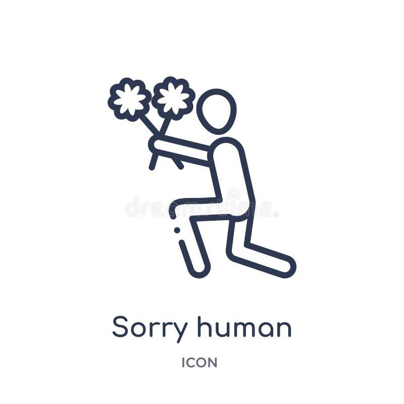 Liniowa zmartwiona ludzka ikona od uczuć zarysowywa kolekcję Cienieje kreskowego zmartwionego ludzkiego wektor odizolowywającego  royalty ilustracja