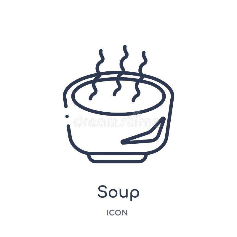 Liniowa zupna ikona od jesień konturu kolekcji Cienieje kreskowego zupnego wektor odizolowywającego na białym tle zupna modna ilu royalty ilustracja