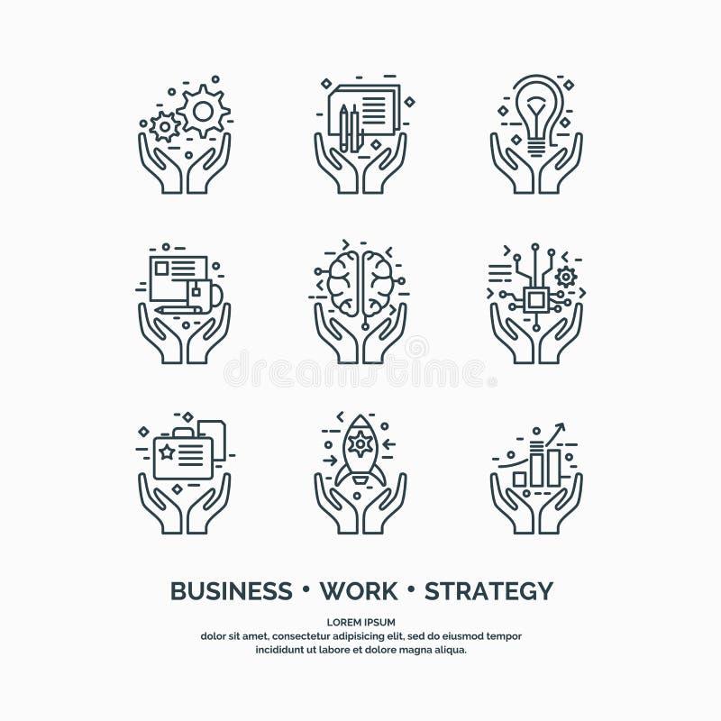 Liniowe ikony Biznesowe analityka i statystyki ilustracji