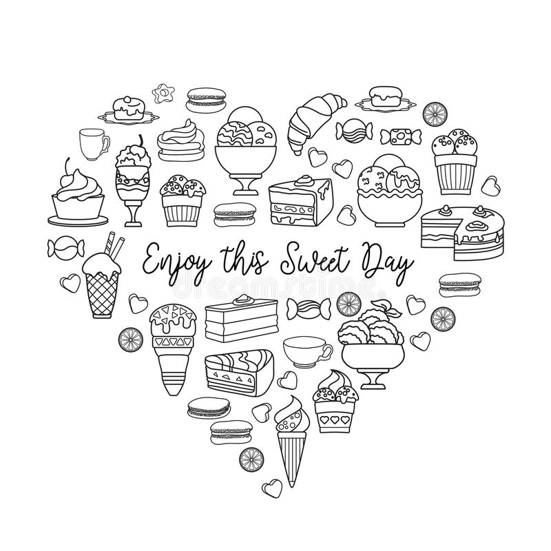 Liniowe ikony cukierki Cieszy się ten Słodkiego dzień ilustracji