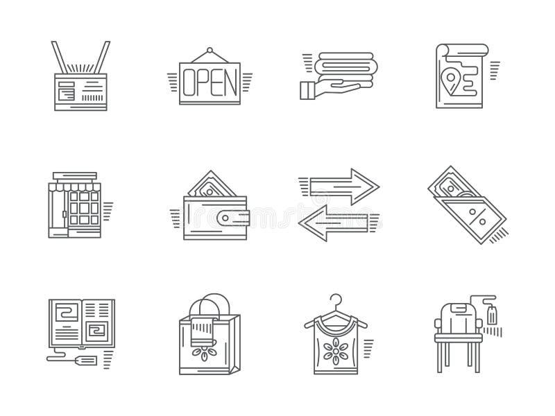 Liniowe ikony dla prowizja sklepu royalty ilustracja