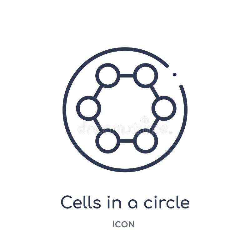 Liniowe komórki w okrąg ikonie od Medycznej kontur kolekcji Cienkie kreskowe komórki w okrąg ikonie odizolowywającej na białym tl ilustracji