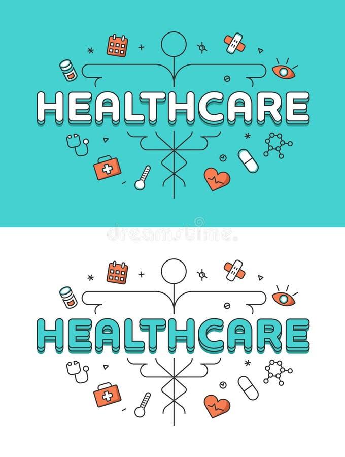 Liniowe Płaskie kaduceusz opieki zdrowotnej ikony Uzdrawiają ilustracji