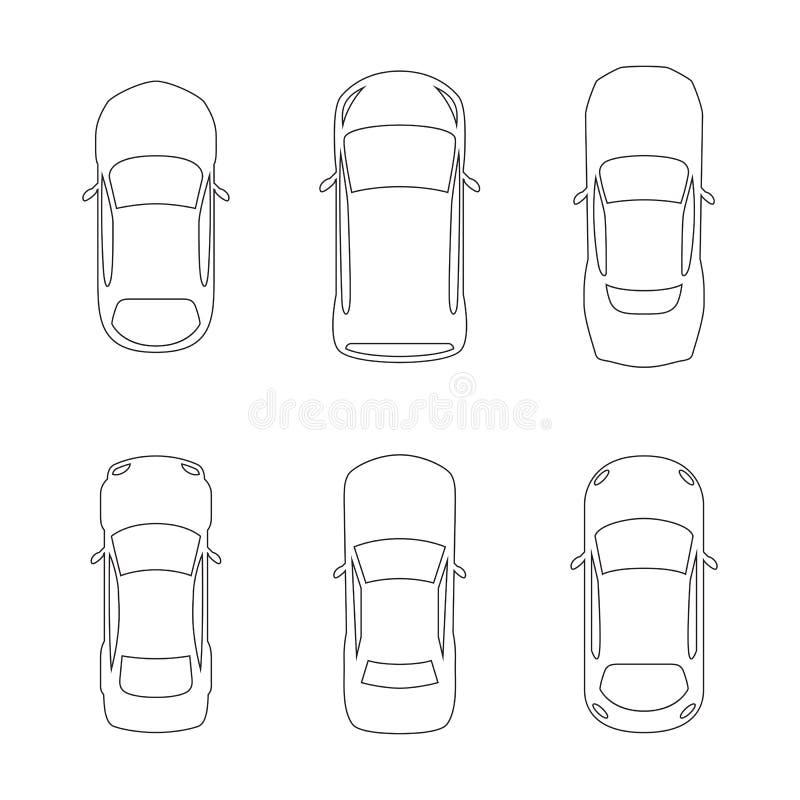 Liniowe samochodu wierzchołka ikony royalty ilustracja