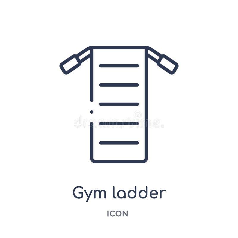 Liniowego gym drabinowa ikona od Gym i sprawność fizyczna zarysowywamy kolekcję Cienieje kreskowego gym drabinową ikonę odizolowy ilustracja wektor