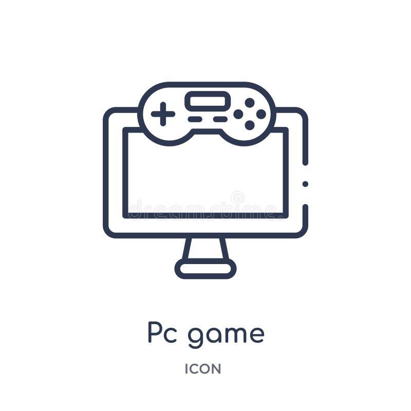Liniowego komputeru osobistego gemowa ikona od rozrywki i arkada zarysowywamy kolekcję Cienieje kreskowego komputeru osobistego g royalty ilustracja
