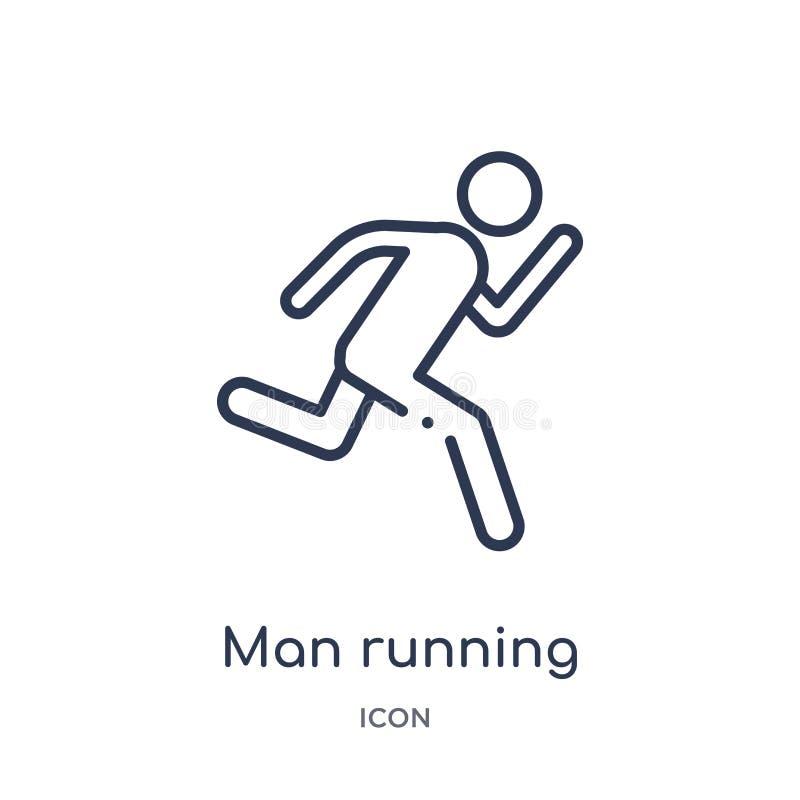 Liniowego mężczyzny działająca ikona od zachowanie konturu kolekcji Cienieje kreskowego mężczyzny działającego wektor odizolowywa ilustracja wektor