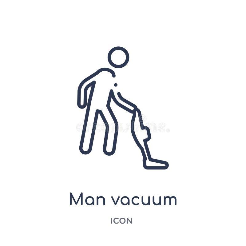 Liniowego mężczyzny próżniowa ikona od zachowanie konturu kolekcji Cienieje kreskowego mężczyzny próżniowego wektor odizolowywają ilustracji