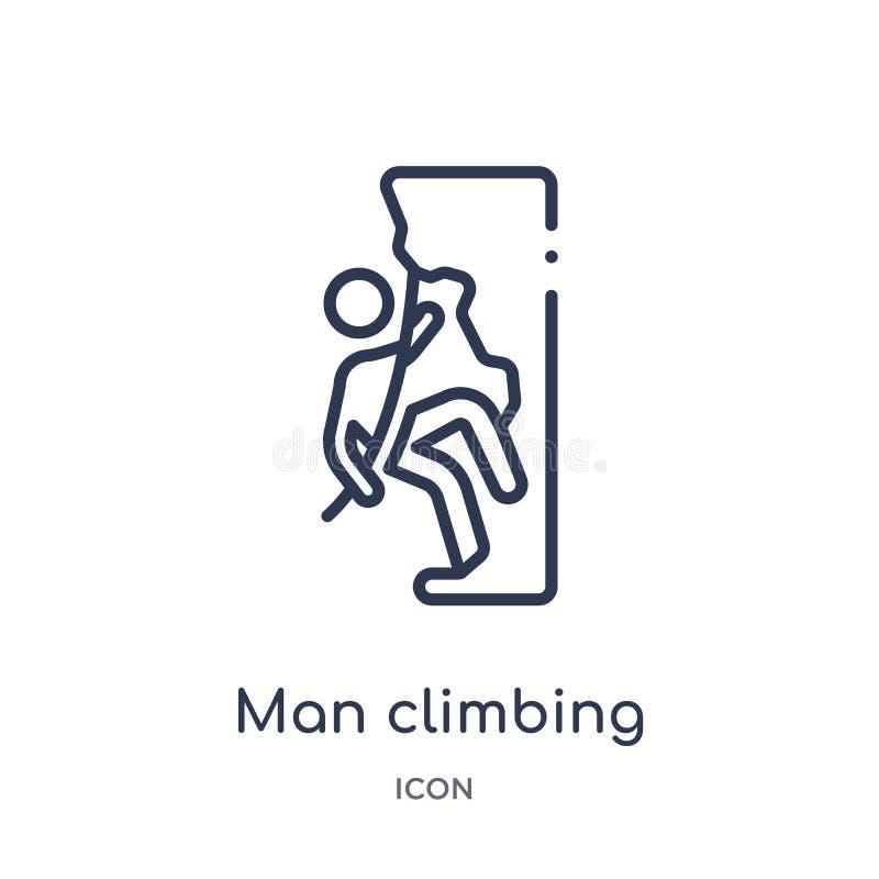 Liniowego mężczyzny wspinaczkowa ikona od zachowanie konturu kolekcji Cienieje kreskowego mężczyzny wspinaczkowego wektor odizolo royalty ilustracja