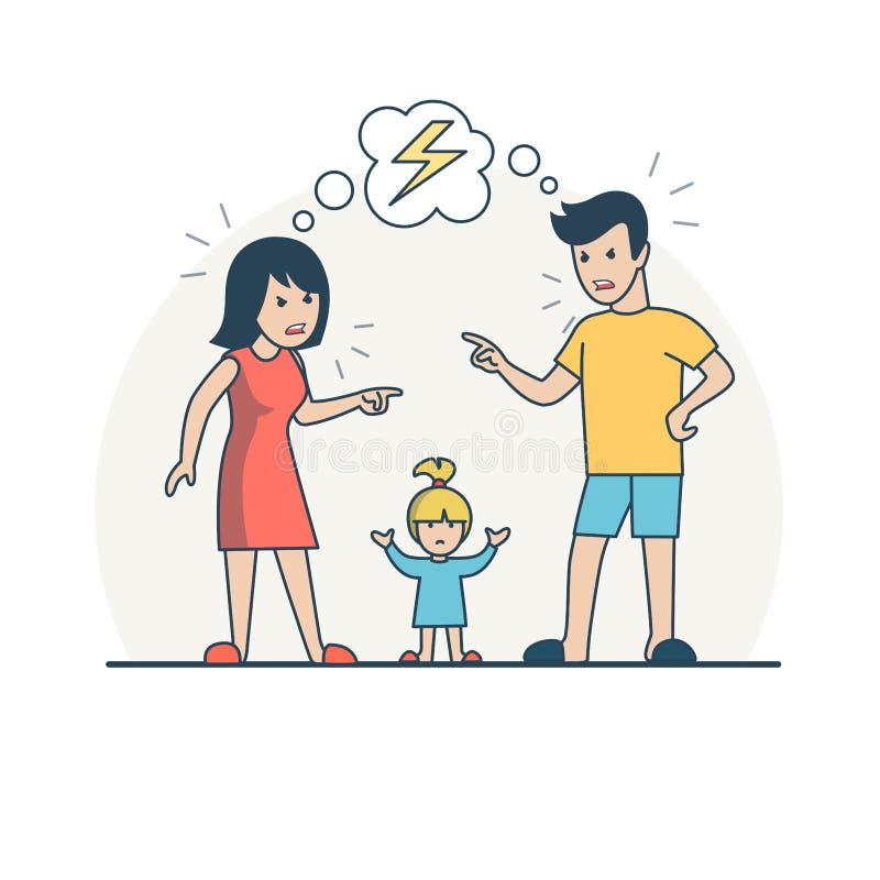 Liniowego mieszkania dziecka Mateczny kłóci się wektor rodzina ilustracja wektor