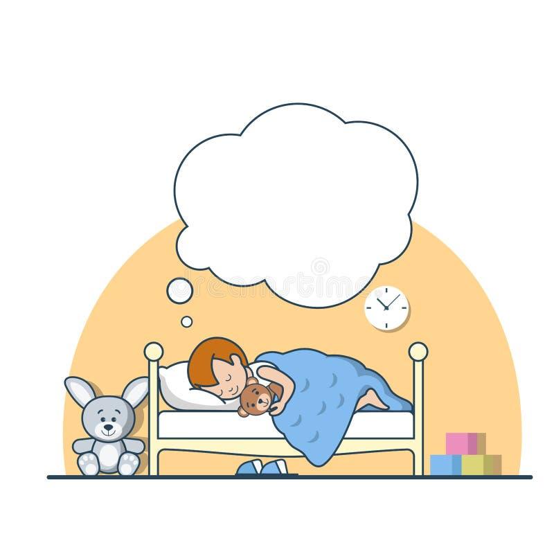 Liniowego Płaskiego chłopiec sen dreame uściśnięcia łóżkowy miś ilustracja wektor