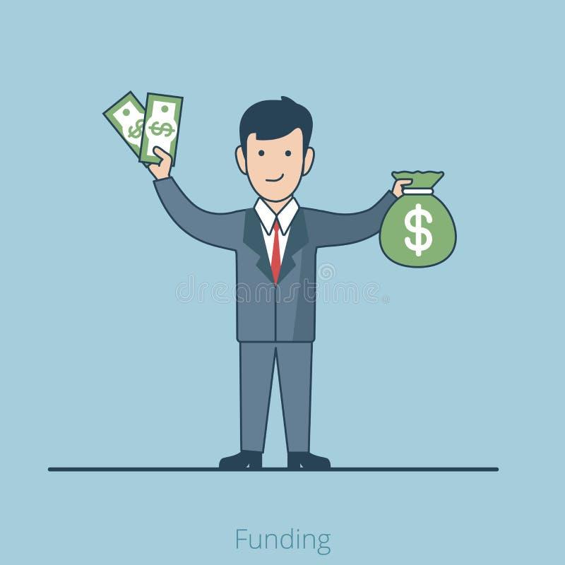 Liniowego Płaskiego inwestora pieniądze wektorowy Biznesowy finansowanie ilustracja wektor