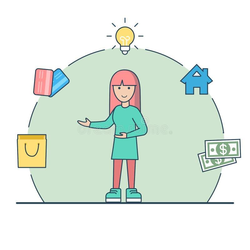 Liniowego Płaskiego kobieta lampowego domu pieniądze kredytowe karty ve royalty ilustracja
