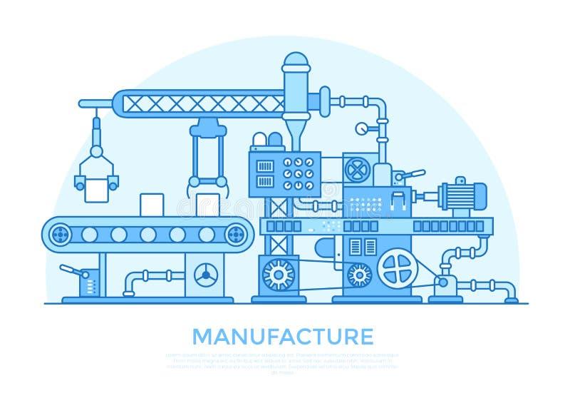 Liniowego Płaskiego manufaktura konwejeru maszynowy produkt p royalty ilustracja