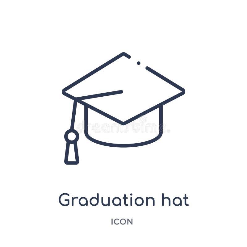 Liniowego skalowania kapeluszowa ikona od edukacja konturu kolekcji Cienieje kreskowego skalowania kapeluszowego wektor odizolowy royalty ilustracja
