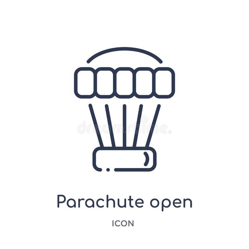 Liniowego spadochronu otwarta ikona od Lotniskowej śmiertelnie kontur kolekcji Cienkiego kreskowego spadochronu otwarty wektor od ilustracja wektor