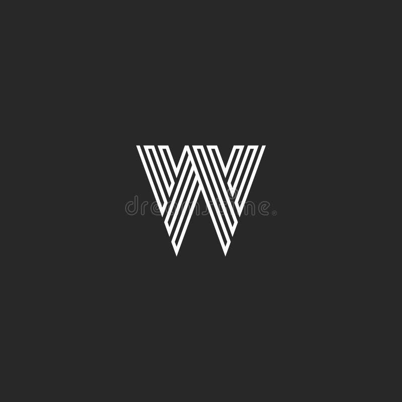Liniowego W listu logo nowożytny monogram, labiryntu kształta linii modnisia inicjału czarny i biały łamający emblemat, typografi ilustracji