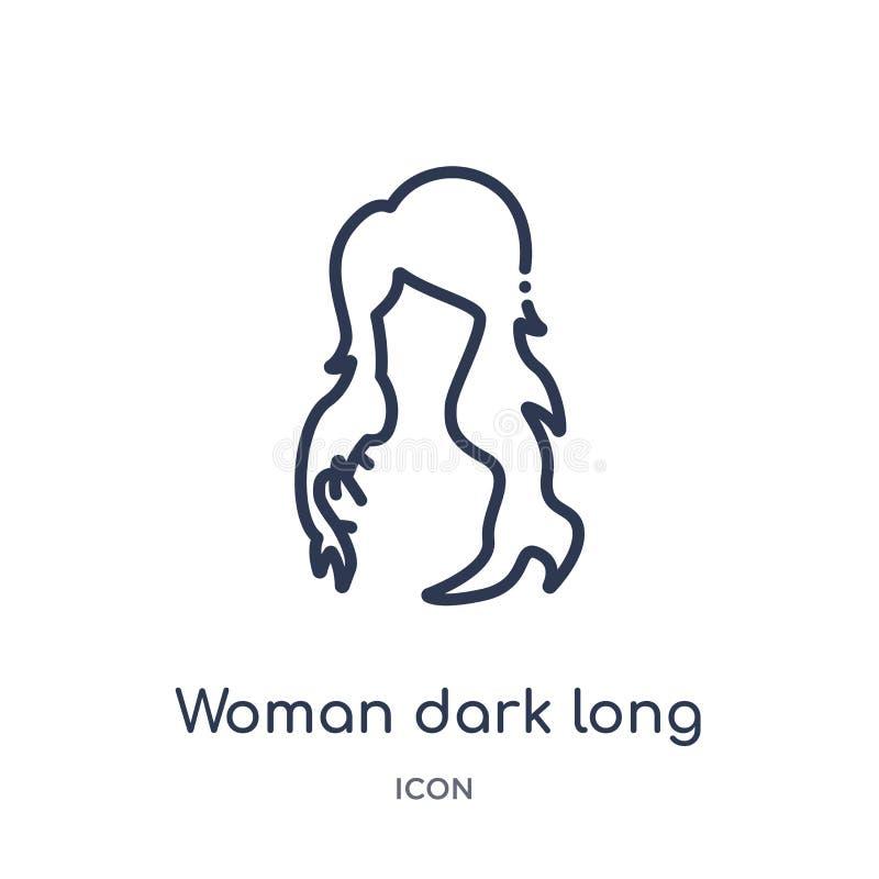 Liniowej kobiety ciemna długie włosy ikona od ciało ludzkie części zarysowywa kolekcję Cienieje kreskowej kobiety ciemną długie w ilustracja wektor
