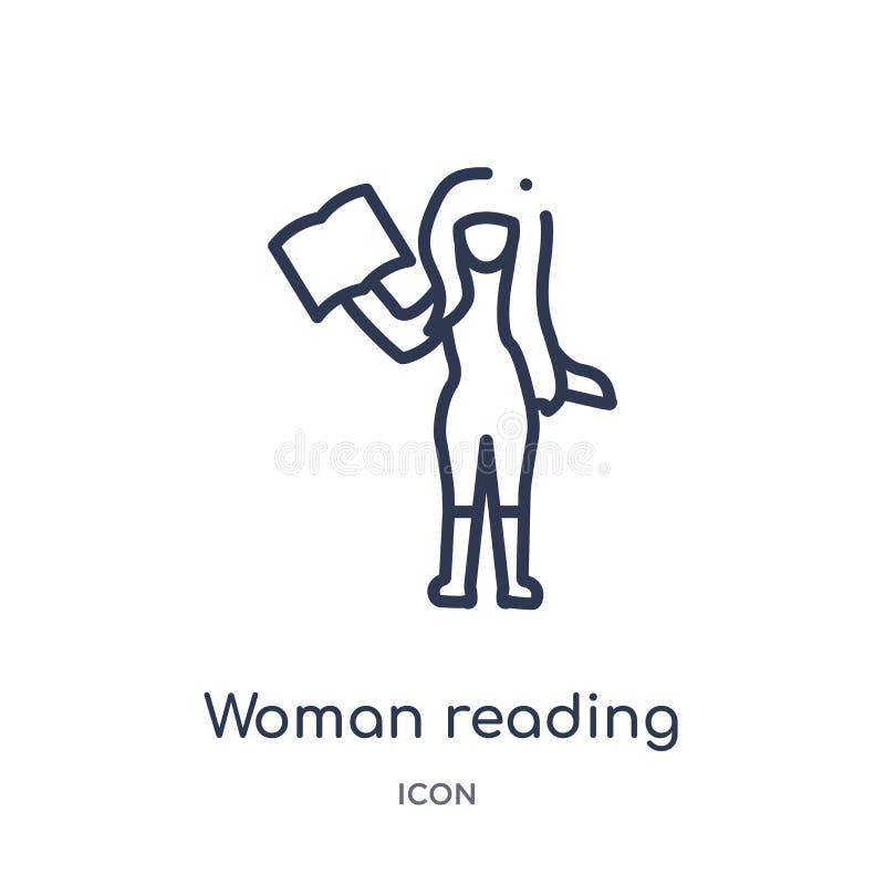 Liniowej kobiety czytelnicza ikona od dam zarysowywa kolekcję Cienieje kreskowej kobiety czytelniczą ikonę odizolowywającą na bia ilustracji