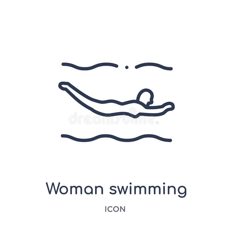 Liniowej kobiety pływacka ikona od dam zarysowywa kolekcję Cienieje kreskowej kobiety pływacką ikonę odizolowywającą na białym tl royalty ilustracja
