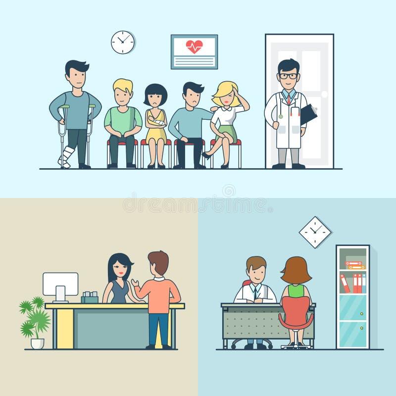 Liniowej Płaskiej kliniki lekarki opóźnienia ręki cierpliwa migrena ilustracji