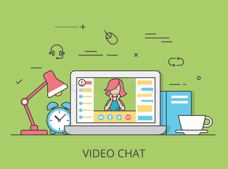 Liniowej Płaskiej wideo gadki konferencyjny wektorowy oprogramowanie ilustracji