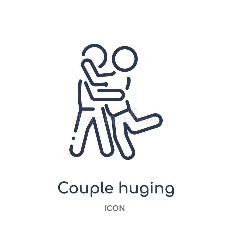 Liniowej pary huging ikona od aktywności i hobby zarysowywamy kolekcję Cienkiej kreskowej pary huging wektor odizolowywający na b royalty ilustracja