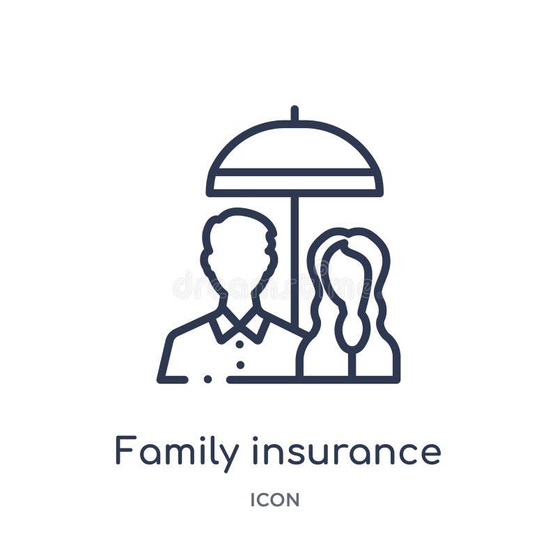 Liniowej rodziny asekuracyjna ikona od Asekuracyjnej kontur kolekcji Cienieje kreskową rodzinną asekuracyjną ikonę odizolowywając royalty ilustracja