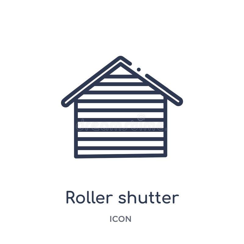 Liniowej rolkowej żaluzji drzwiowa ikona od budynków zarysowywa kolekcję Cienkiej kreskowej rolkowej żaluzji drzwiowa ikona odizo ilustracja wektor