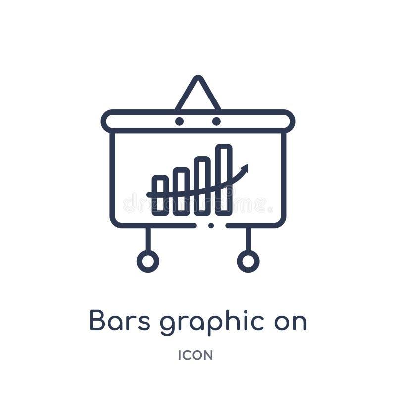 Liniowi bary graficzni i analityka na parawanowej ikonie od biznesu zarysowywają kolekcję Cienka linia zakazuje grafikę na parawa royalty ilustracja