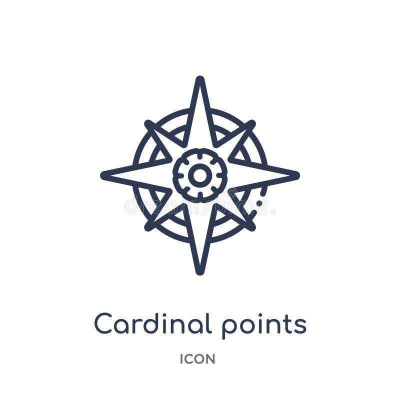 Liniowi główni punkty na wiatr gwiazdowej ikonie od wojska zarysowywają kolekcję Ciency kreskowi główni punkty na wiatrach grają  ilustracji