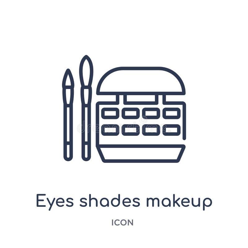 Liniowi oczy cienią makeup ikonę od Ogólnego konturu kolekcji Cienka linia przygląda się cienia makeup ikonę odizolowywającą na b ilustracji