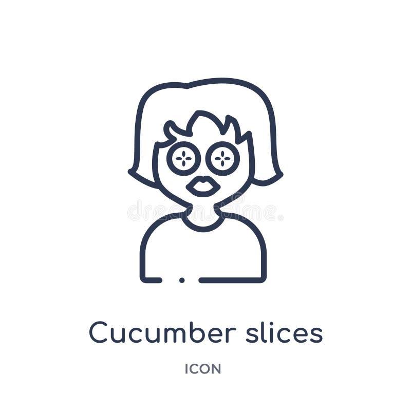 Liniowi ogórkowi plasterki na twarzy ikonie od piękna zarysowywają kolekcję Ciency kreskowi ogórków plasterki na twarz wektorze o ilustracja wektor