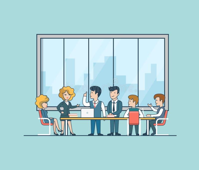 Liniowi Płascy ludzie biznesu brainstorming wektor ilustracja wektor