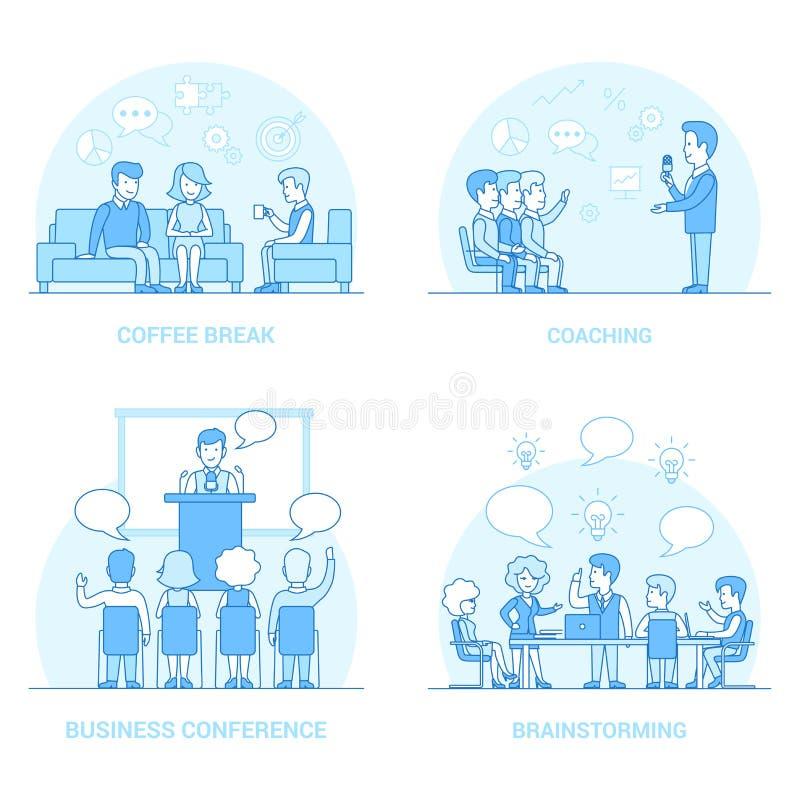Liniowi Płascy ludzie biznesu trenera Brainstorming co royalty ilustracja