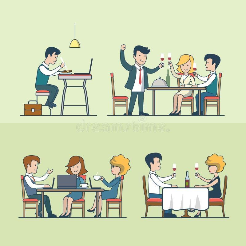 Liniowi Płascy ludzie w restauracyjnym wektoru secie Jedzenie ilustracji