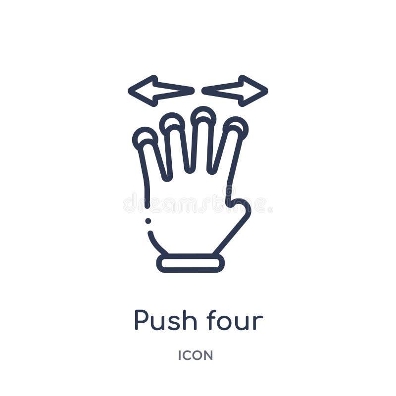 Liniowi pchnięcia cztery palce i ruch gestykulują ikonę od ręk i guestures zarysowywają kolekcję Ciency kreskowi pchnięcia cztery ilustracji