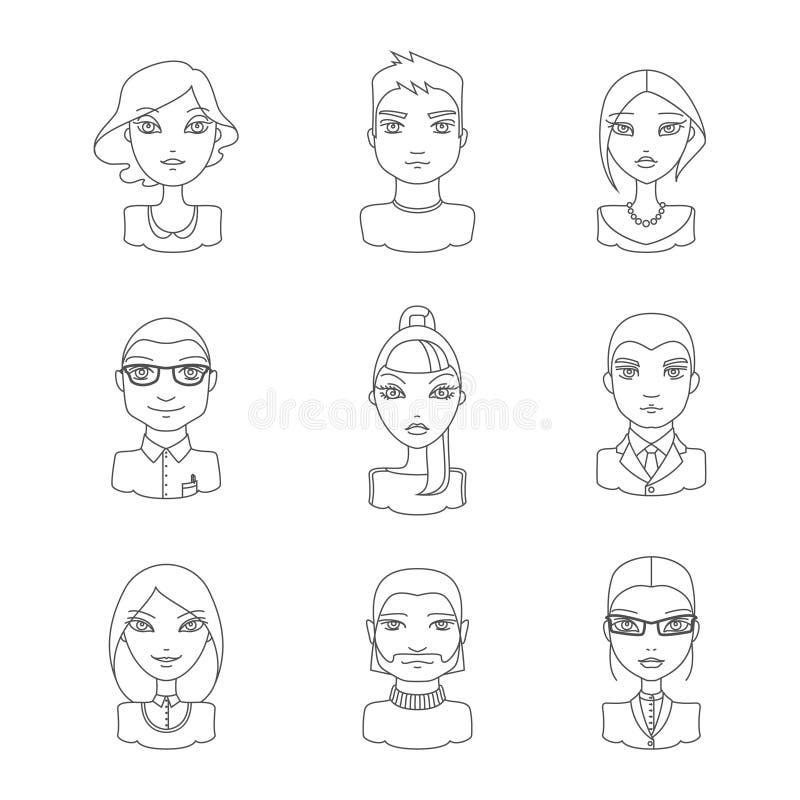 Liniowi stylowi ludzie ikona setu ilustracji