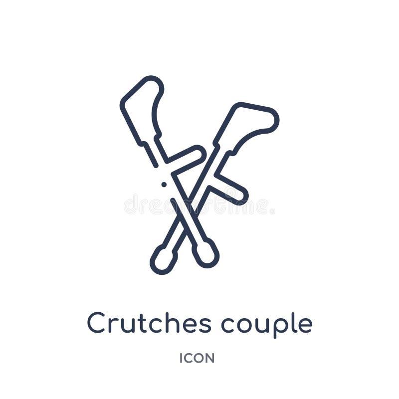 Liniowi szczudła dobierają się ikonę od Medycznej kontur kolekcji Ciency kreskowi szczudła dobierają się ikonę odizolowywającą na royalty ilustracja
