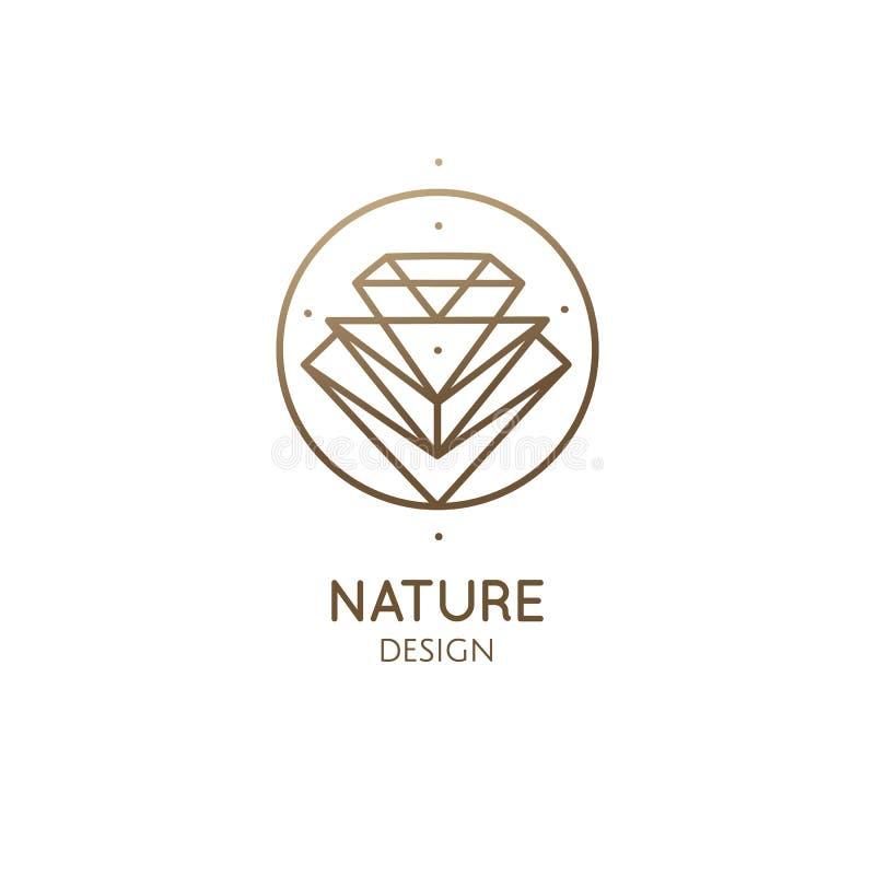 Liniowy abstrakcjonistyczny logo diament ilustracja wektor