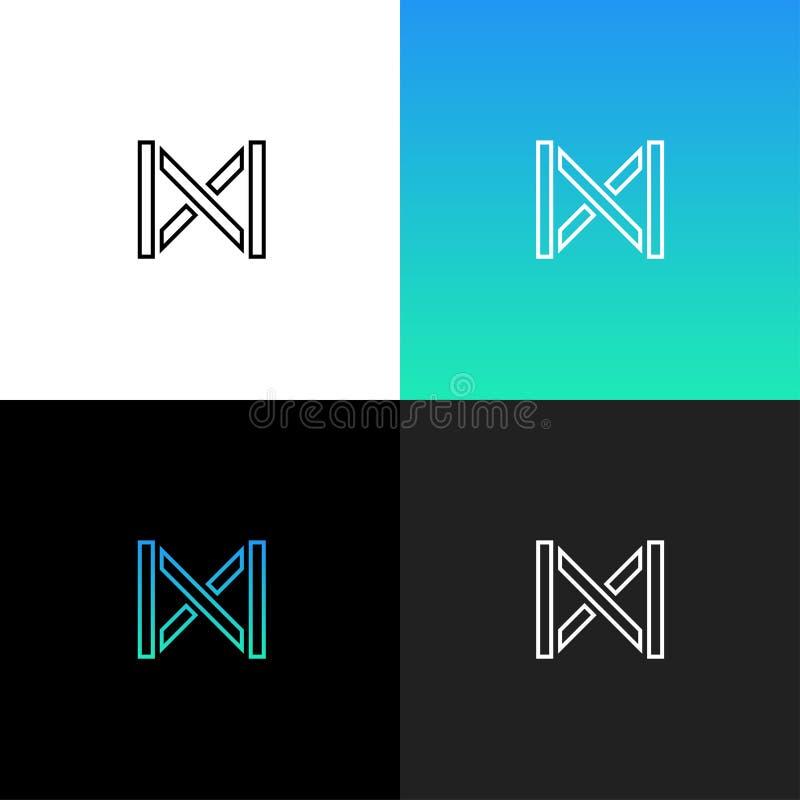 Liniowy abstrakta listu M logo ilustracji