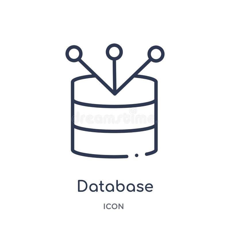 Liniowy baza danych łączył ikonę od biznesu i analityka zarysowywają kolekcję Cienieje kreskowy baza danych łączącego wektor royalty ilustracja