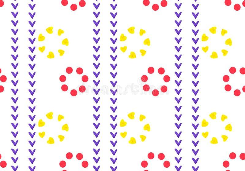 Liniowy bezszwowy geometryczny wzór czerwień i kolor żółty kwitnie Płatki kwadraty, serce i okrąg, Ornament w etnicznym stylu royalty ilustracja