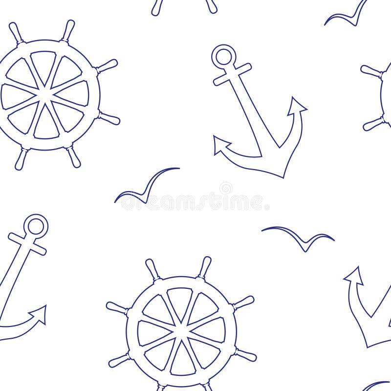 Liniowy bezszwowy wektoru wzór denne kierownicy, kotwicy, seagulls ilustracja wektor