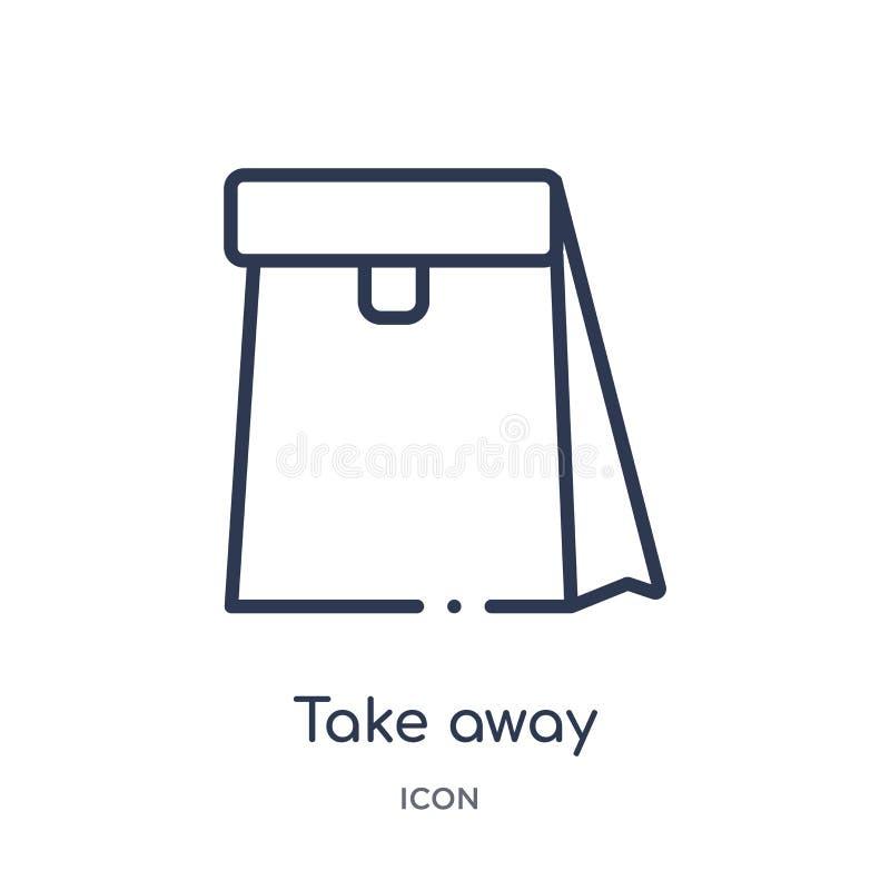 Liniowy bierze oddaloną ikonę od Fastfood konturu kolekcji Cienki kreskowy bierze oddalonego wektor odizolowywającego na białym t ilustracji
