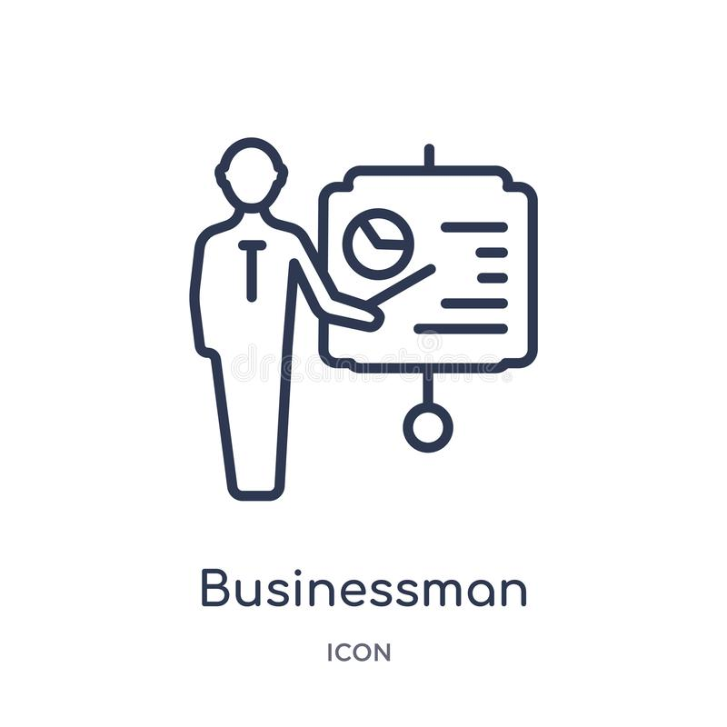 Liniowy biznesmen pokazuje projekta nakreślenia ikonę od Biznesowej kontur kolekcji Cienki kreskowy biznesmen pokazuje projekta n royalty ilustracja
